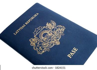 Passport isolated on white (Republic of Latvia)