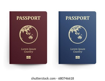 Passport With Map. Australia. Realistic Vector Illustration. Red And Blue Passports With Globe. International Identification Document. Front Cover