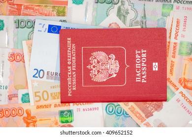 Passport with money dollar euro RUR