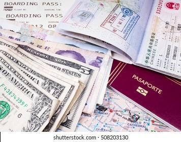 Passport, money, map and boarding pass