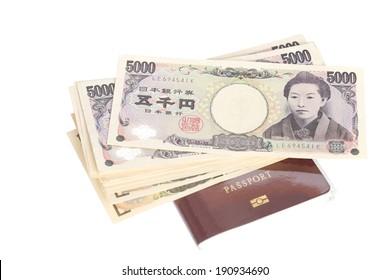 passport with money yen