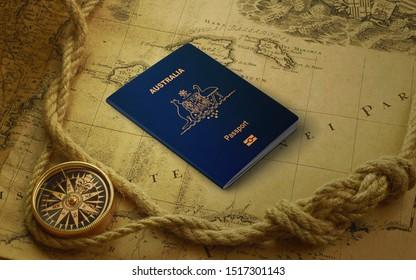 Passport official of Australia,Australian passport on the top of an world map