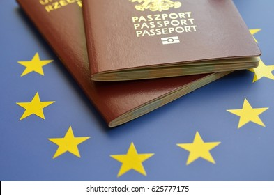 Passport on the flag of the EU