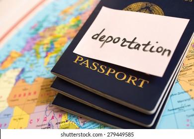Passport on map. inscription deportation
