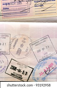 Passport page with visas and border stamps
