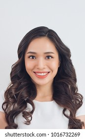 Passport picture of an asian young woman.