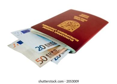 Passport with some european money