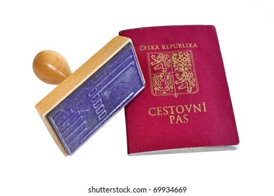 Passport  with stamp as a symbol for visa or permit isolated
