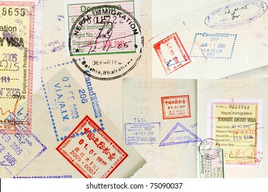 Passport stamps background with various countries