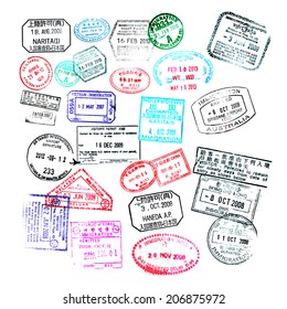 Passport stamps  isolated on white background