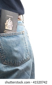 A passport sticking out of a man's back pocket, isolated on white.