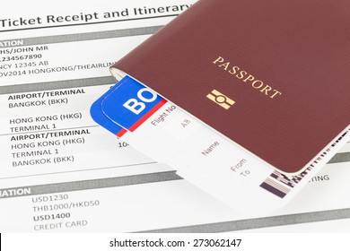 Passport and travel document; e-ticket and boarding pass, information are mock-up
