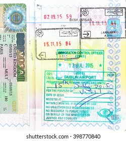 Passport with UK visa and stamps of Cyprus and Ireland