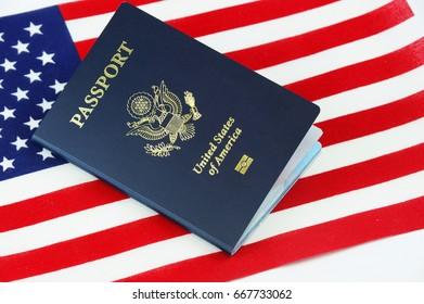 passport of USA on the national flag