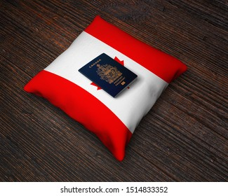 Passports of Canada with Canadian Flag Pillows