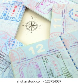 Passports and compass rose
