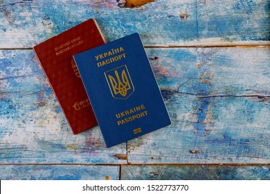 Passports of dual citizens Ukraine and Hungarian passport for traveling concept