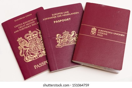 Passports Kingdom of Great Britain and Northern Ireland, the Netherlands and Sweden.