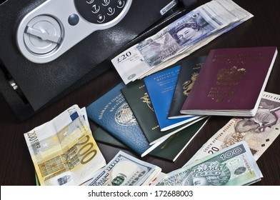 Passports and money - multi national ID, Seaman's Books, miscellaneous currency banknotes  - spy / agent concept / Intelligence Secret Service