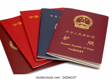 Passports of People's Republic of China. isolated.