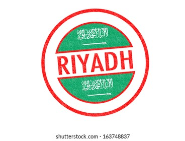 Passport-style RIYADH (capital of Saudi Arabia) rubber stamp over a white background.