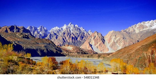 Passu cathedral in summer, Hunza valley