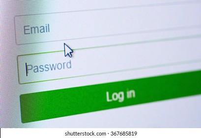 Password and email blank forms and arrow cursor at login screen on the web site.