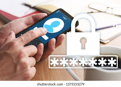 Password of smartphone account concept.