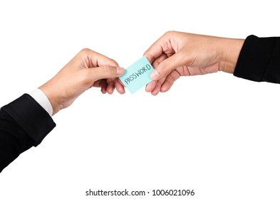 Password text in hand of businessman isolated on white background, Save clipping path.