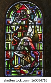 PASSY, FRANCE - OCTOBER, 24: Stained glass, Notre Dame de Toute Grace, Passy, France, 24, October, 2013. The humble church mountain is a veritable manifesto of early 20th century modern art