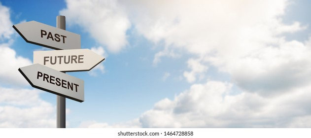 Past, future, present. Pointer with arrows in front of blue sky with clouds, panorama, copy space