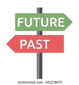 Past and future road sign isolated on white. Life, destiny, motivation, success, concentration, aging, hope, faith, development concept