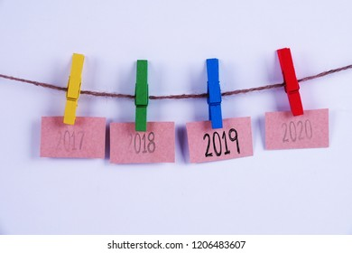 Past, present and future concept.  Hanging tags of years 2017, 2018,2019 and 2020.