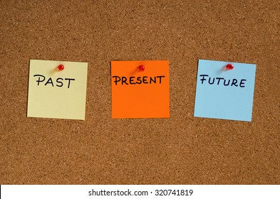 Past, present, future on a cork board
