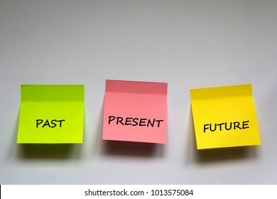 """Past, present, future"", the phrase is written on multi-colored stickers on white background."