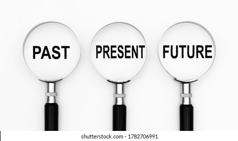 Past present and future text under magnifying lenses