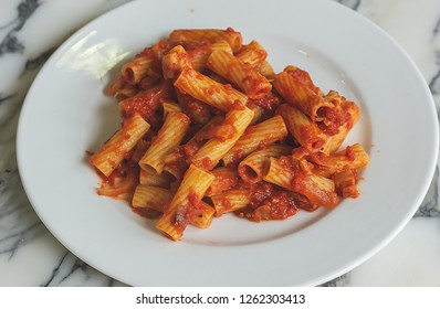 Pasta all'amatriciana, rigatoni with tomato and guanciale