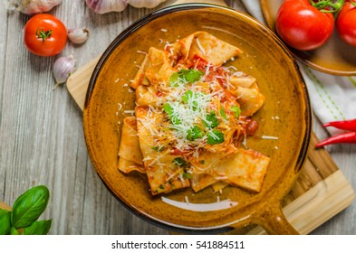 Pasta arrabiata with homemade pasta, delicious and hot meal!