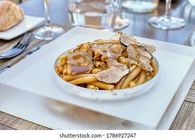 Pasta with autumn black truffles