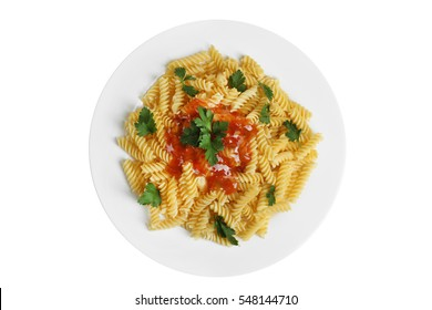 Pasta with black olives on a plate. Isolated.