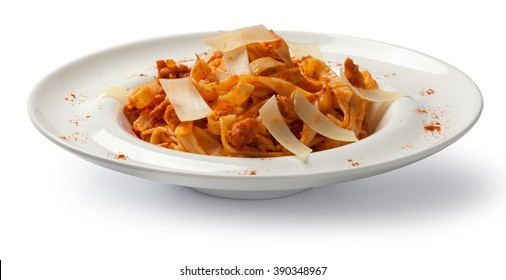 Pasta bolognese. Front view.