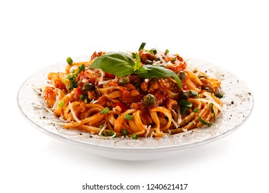 Pasta with bolognese sauce on white background
