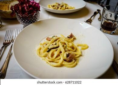 Pasta carbonara. Spaghetti with pork cheek and parmesan cheese.