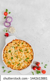Pasta and Cheese Bake, copy space for your text
