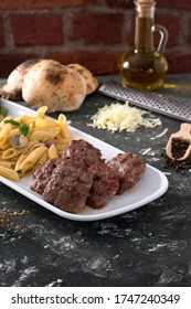 pasta with cheese and grill meatball