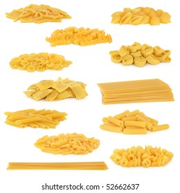 Pasta collection isolated over white background.
