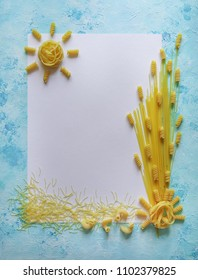Pasta with copy space in the blue table.