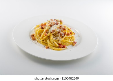 Pasta dish Spaghetti carbonara with cheese