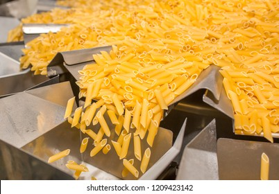 Pasta factory conveyor for pasta production of flour products, technological production factory industrial work, raw macaroni close-up with copy space