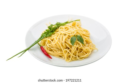 Pasta with four cheeses isolated